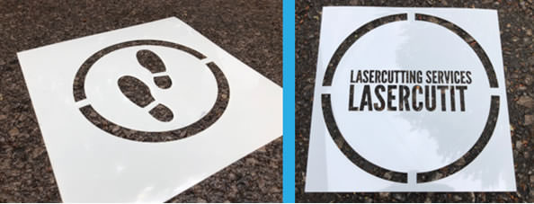 footprints and company logo stencils for social distancing floor markings